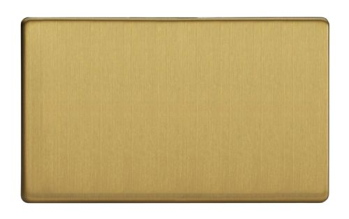 Varilight XDBDBS Screwless Brushed Brass 2 Gang Double Blank Plate